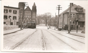 Bay State St Ry 4100 class car on Berkeley St at Avon St, Lawrence. Bridge is over Spickett River, 1917-1918