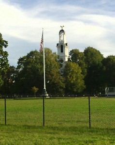 The Shattuck Flag and the City Hall Bell Clock Tower Across the Campagnone Common, Looking South