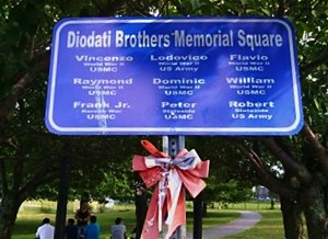 Diodati Brother memorial Square, Lawrence St. at O'Neill Park