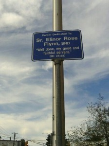 Sr. Elinor Rose Flynn, SND, at Hamshir and Harver Northeast Corner